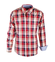 Shirt Casual Red Beige Navy