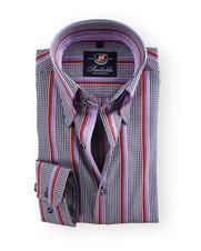 Shirt Hoge Boord Black Check Stripe