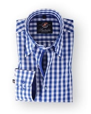 Shirt Hoge Boord Blue Big Checks