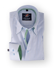 Shirt Hoge Boord Blue Oxford Stripes
