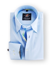 Shirt Hoge Boord Blue Satin