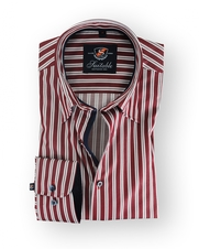 Shirt Hoge Boord Bordeaux Multi Stripes