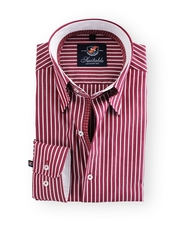 Shirt Hoge Boord Bordeaux Stripe