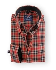Shirt Hoge Boord Brown Red Check