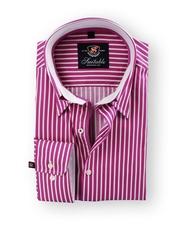 Shirt Hoge Boord Fuschia Stripe