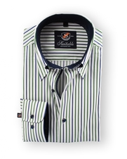 Shirt Hoge Boord Green Navy Stripes