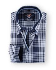 Shirt Hoge Boord Navy Checks