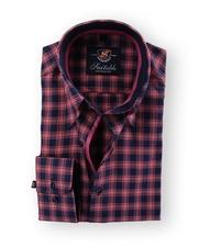 Shirt Hoge Boord Navy Ruit Fuchsia