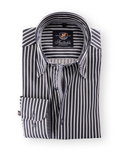 Shirt Hoge Boord Navy White Stripes