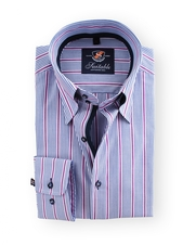 Shirt Hoge Boord Pink Blue Stripe