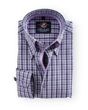 Shirt Hoge Boord Purple Check Antraciet