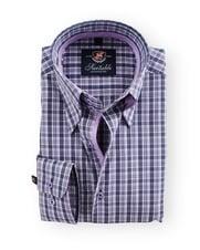 Shirt Hoge Boord Purple Check Antraciet