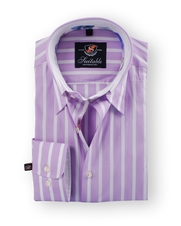 Shirt Hoge Boord Purple Stripe White