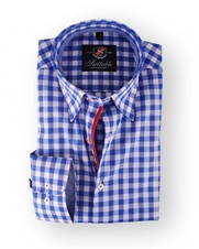 Shirt Hoge Boord Royal Blue Blocks