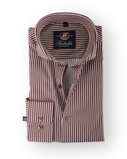 Smart Shirt Suitable Brown Stripe Cutaway