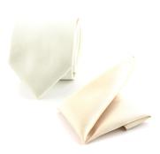 Krawatte und Einstecktuch Seide Off-White F09