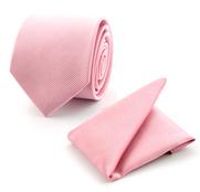 Stropdas Met Pochet Zijde Roze F03