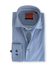 Suitable Blauw Print Overhemd Slim Fit D61-15