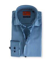 Suitable Blauw Ruit Overhemd Slim Fit D61-14