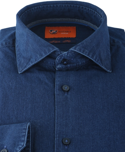 Detail Suitable Denim Overhemd Blauw 62-05