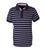 Suitable Polo Stripe Navy Pink