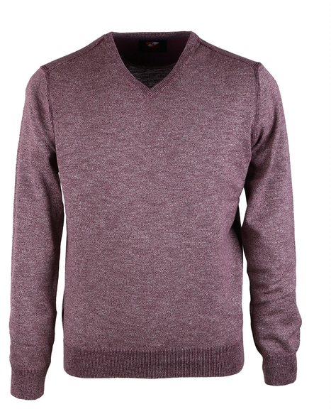 Suitable Pullover V-Hals Mouline Bordeaux