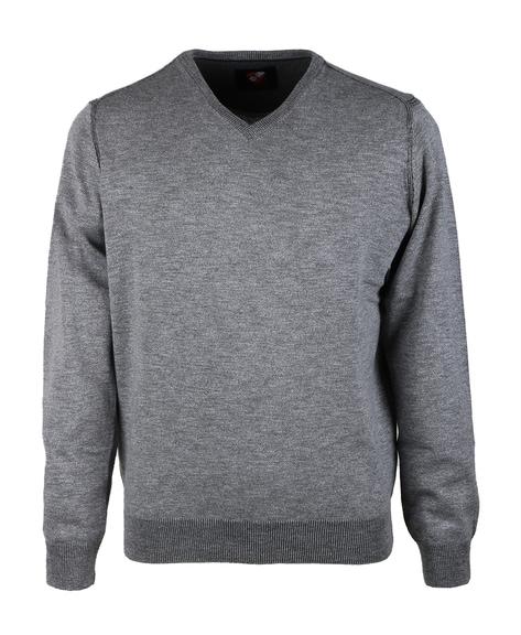 Suitable Pullover V-Hals Mouline Grau