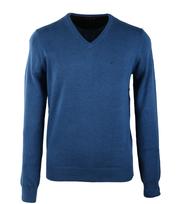 Suitable Trui V-Hals Katoen Jeans Blauw