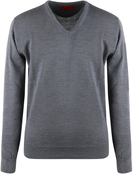 Suitable Pullover V-Hals Merinowolle Grau