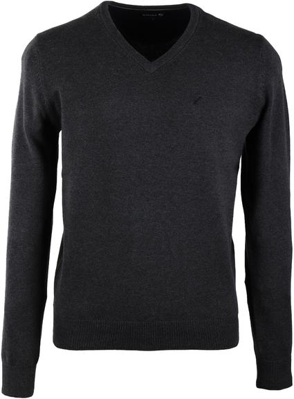 Pullover V-Hals Baumwolle Anthrazit