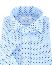 Detail Van Gils Shirt Tailor Fit Blauw Pinpoint