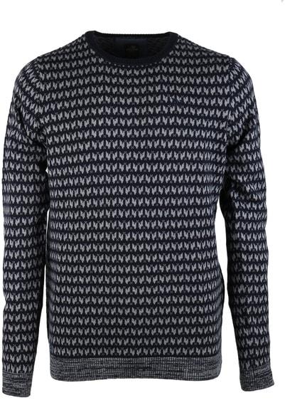Vanguard Pullover Ronde Hals Donkerblauw Dessin