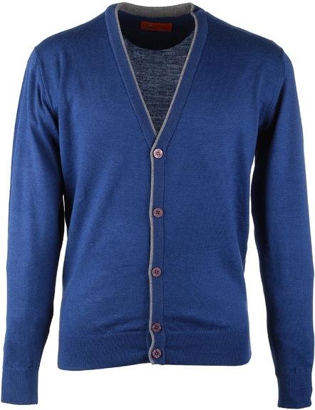 Vest Merino Wol Blue Button