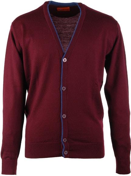 Vest Merino Wol Bordeaux Button
