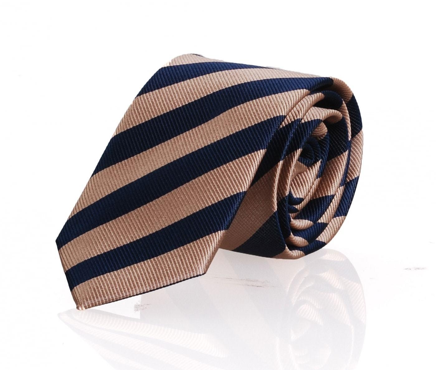 Krawatte Beige - Navy Streifen FD15 foto 0