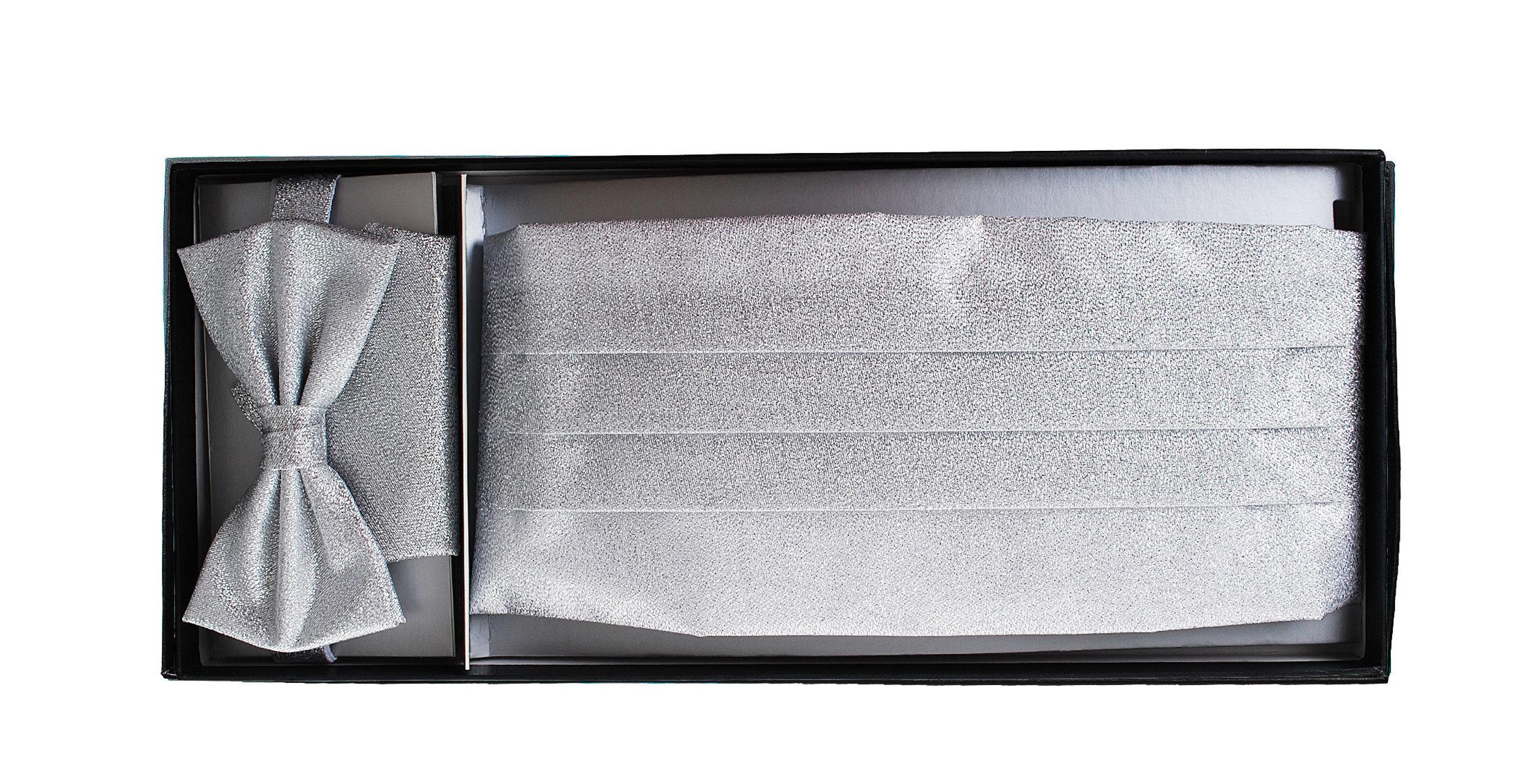 Set Kummerbund mit Fliege und Einstecktuch Silber foto 1