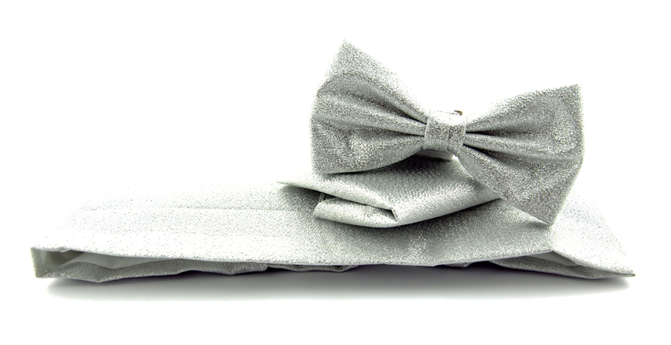 Set Kummerbund mit Fliege und Einstecktuch Silber foto 0