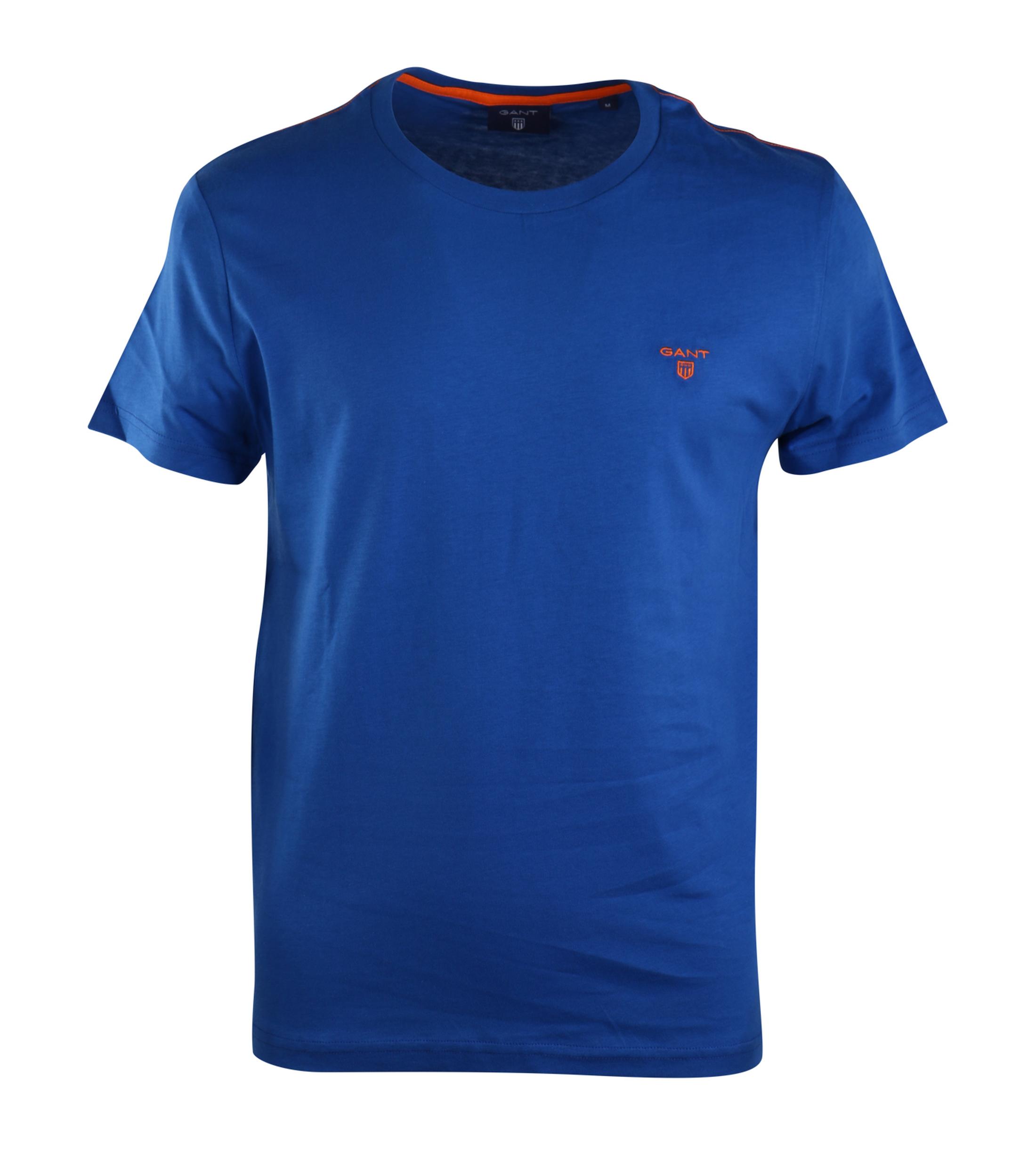 Gant t shirt contrast logo ocean blue for Ocean blue t shirt