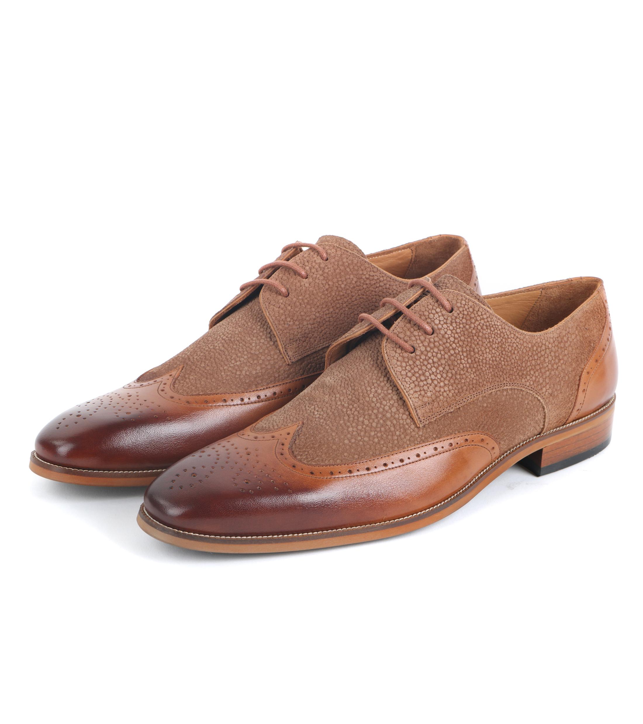 Leather Dress Shoes Brogues Cognac + Beige