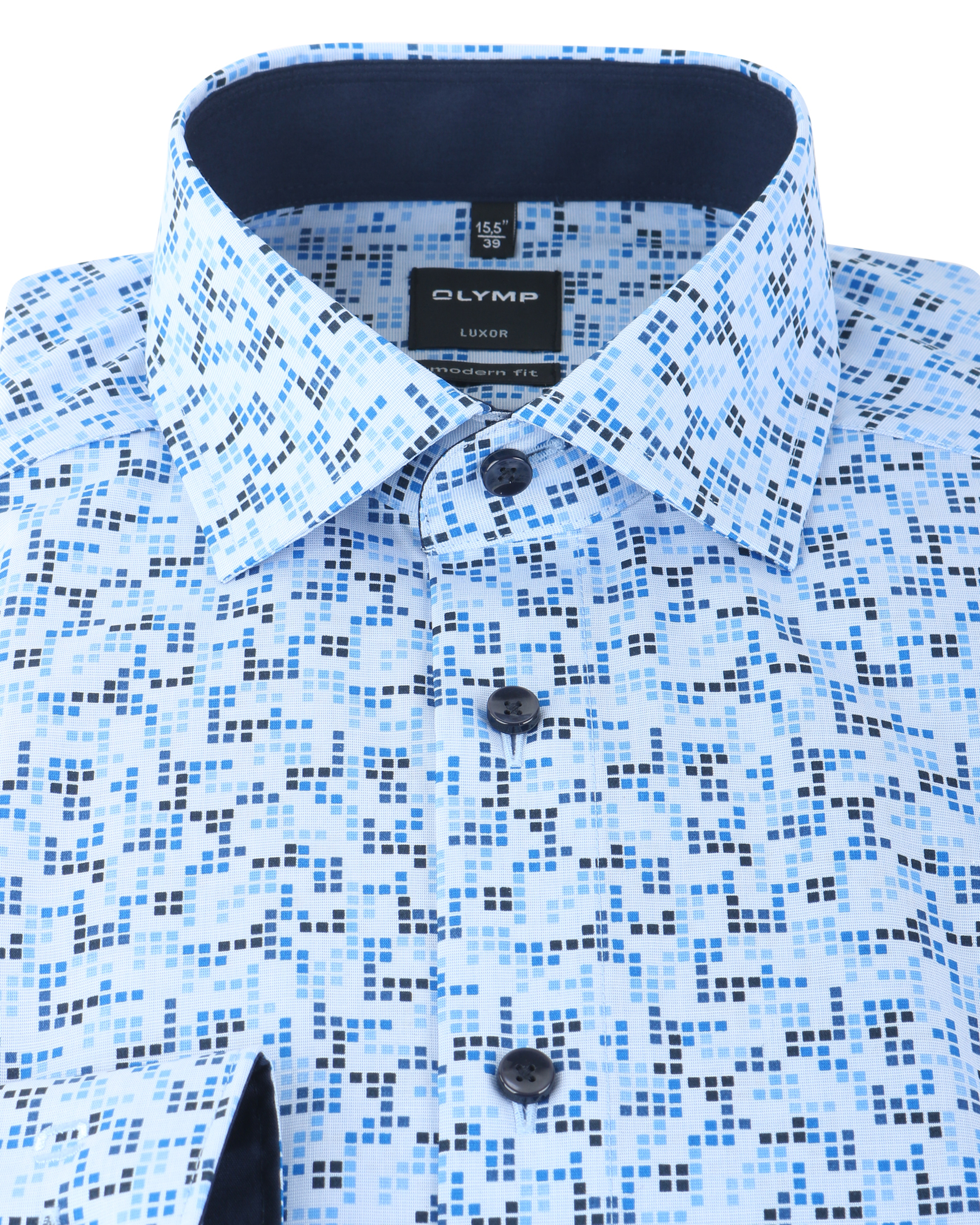 Olymp Luxor Shirt Modern Fit Blauw Print