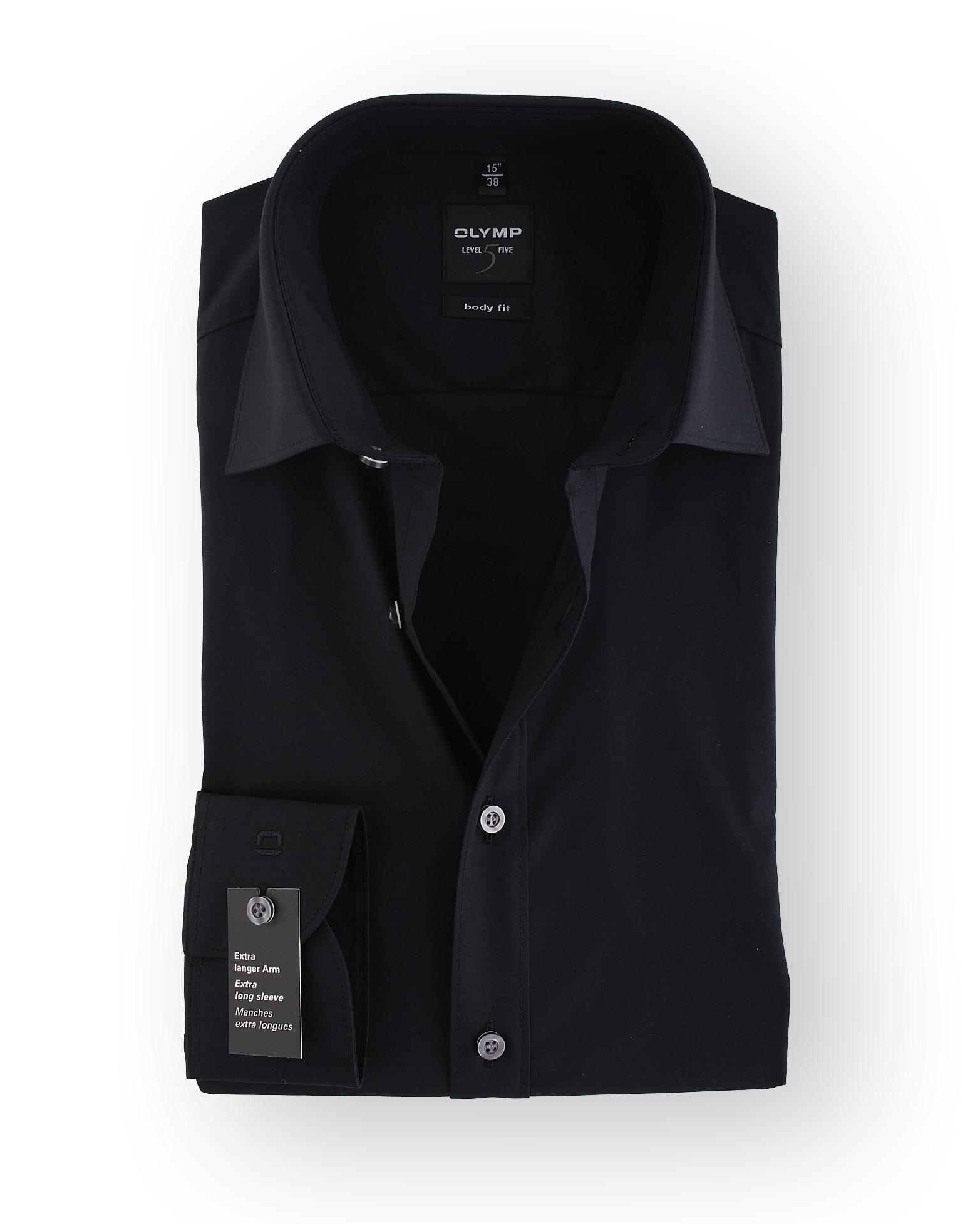 olymp overhemd sl7 zwart body fit. Black Bedroom Furniture Sets. Home Design Ideas