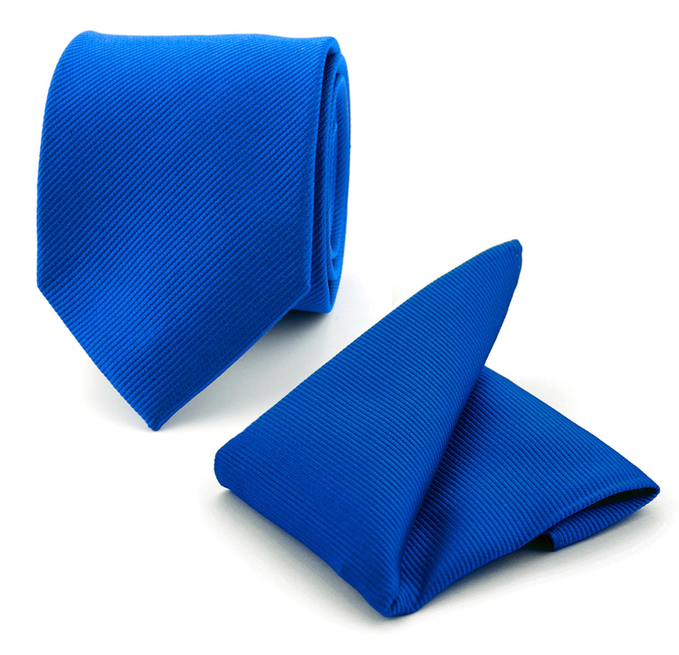 krawatte und einstecktuch set seide kolbaltblau f65. Black Bedroom Furniture Sets. Home Design Ideas