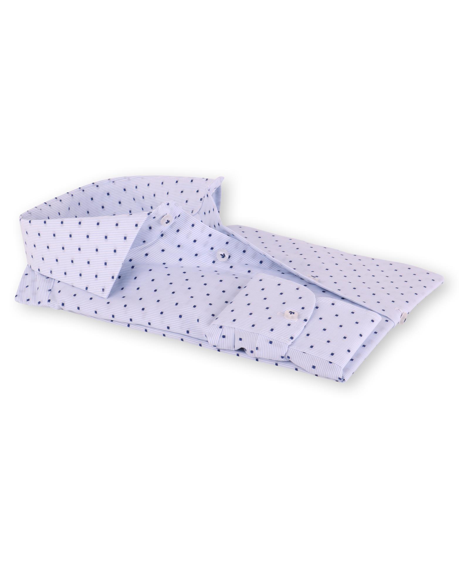 Profuomo Overhemd Cutaway Blauwe Blokjes