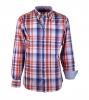 Oranje Blauw Ruit Casual Overhemd