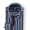 Shirt Hoge Boord Brown Blue Stripe