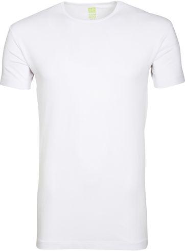 Alan Red Bamboo T-shirt O-Ausschnitt Weiß