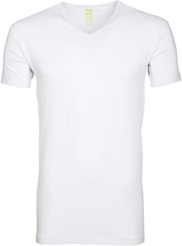 Alan Red Bamboo T-shirt V-Ausschnitt Weiß