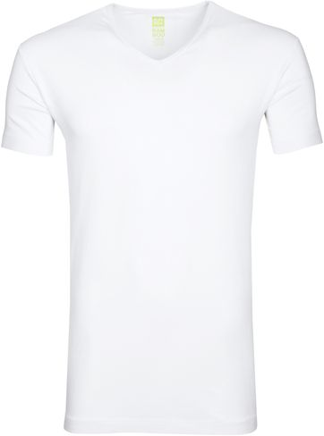 Alan Red Bamboo T-shirt V-Hals Wit