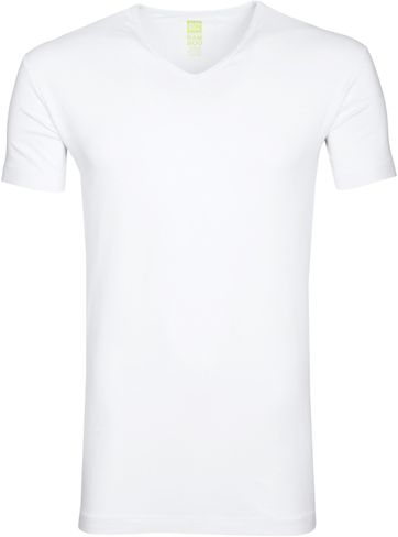 Alan Red Bamboo T-shirt V-Neck Wite