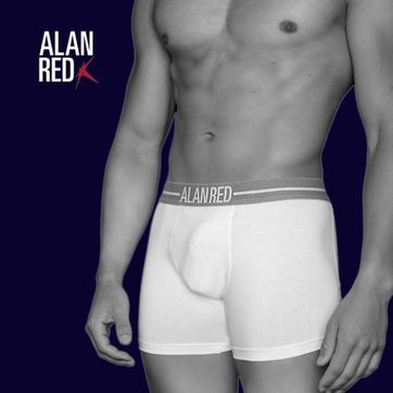 Alan Red Boxer Shirts White 2-Pack